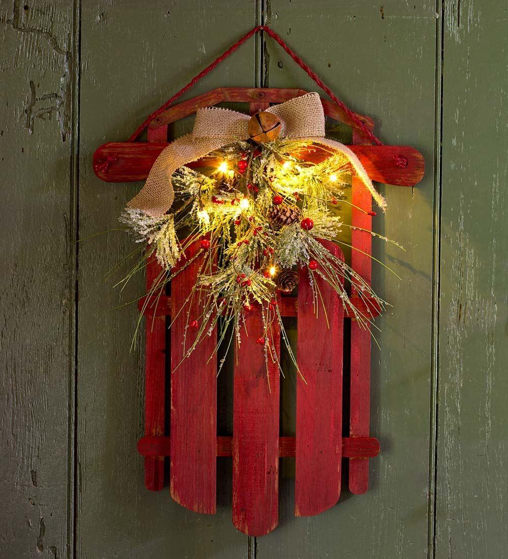 Lighted Holiday Sled Decorations Plow Hearth