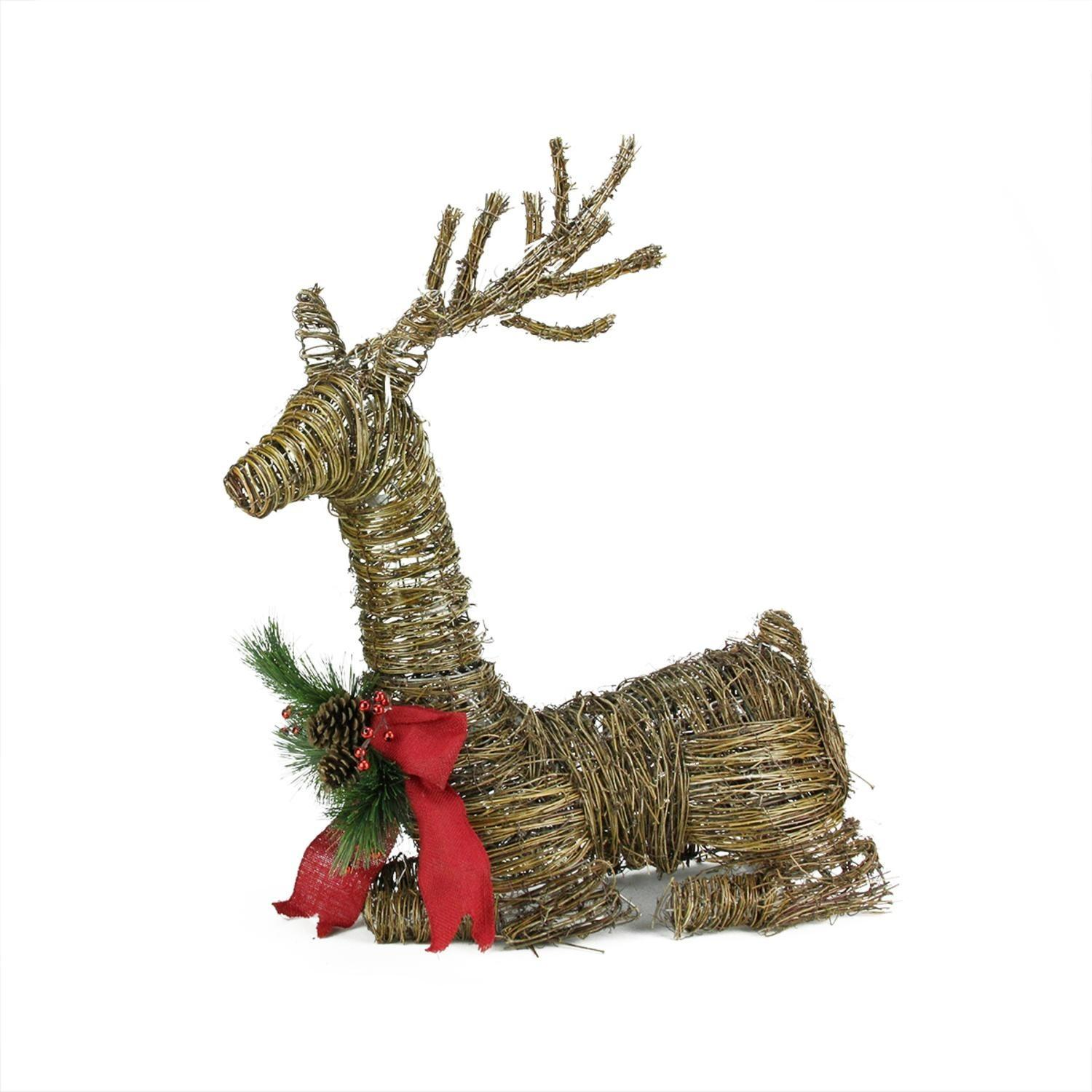Lighted Rattan Reindeer Red Bow Pine Cones