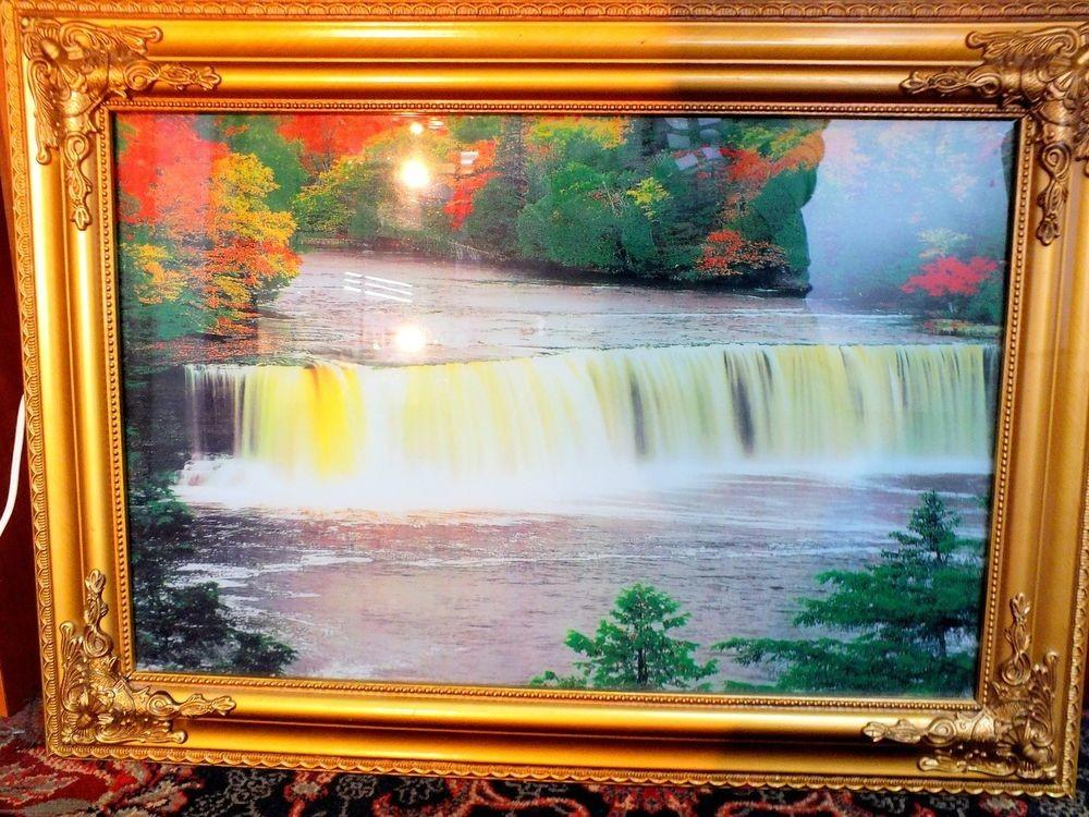 Lighted Waterfall Framed Vintage Wall Art Sound