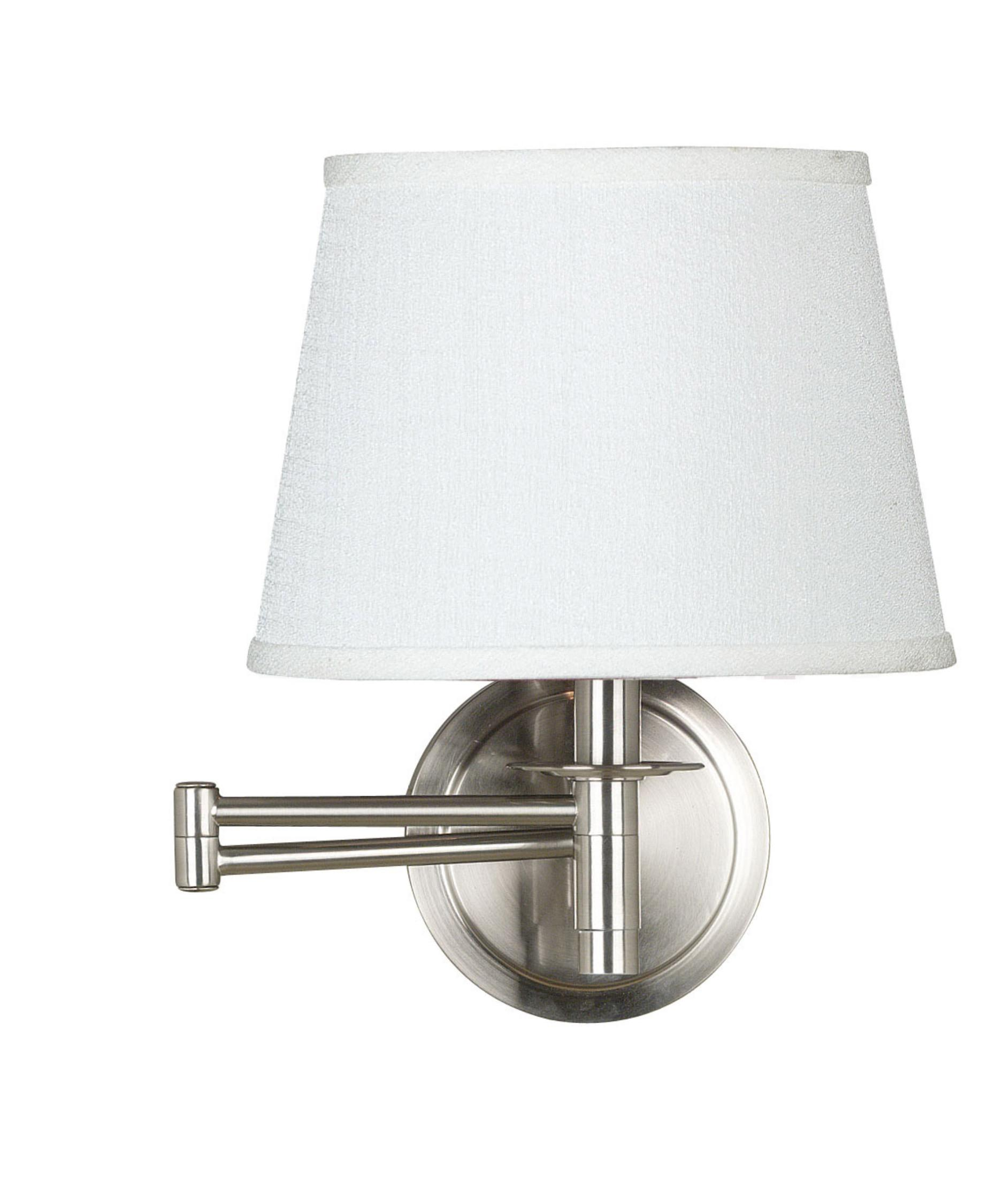 Lighting White Lamp Shade Swing Arm Wall Sconce
