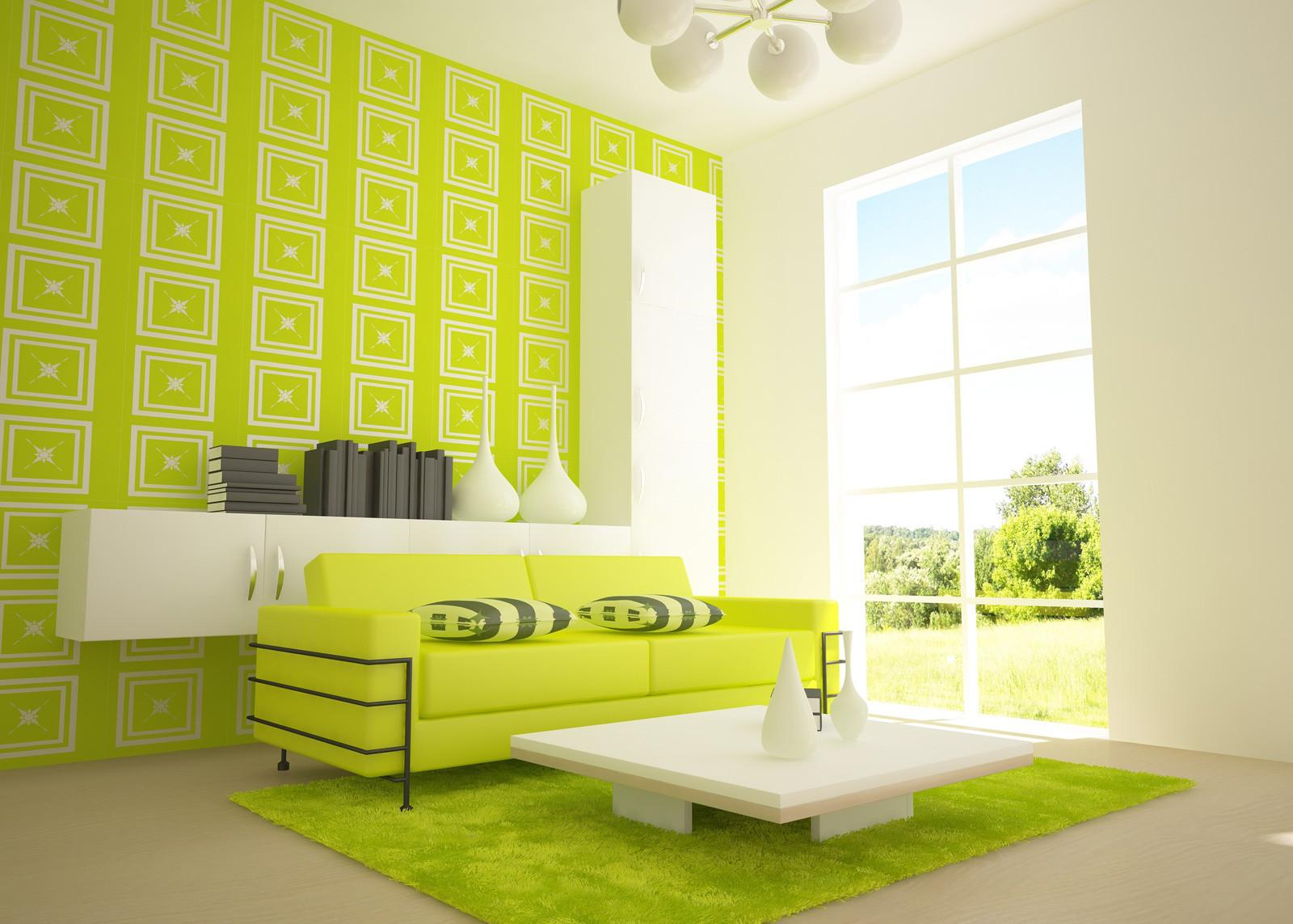 Lime Green Orange Color Design Drawing Room Home Combo