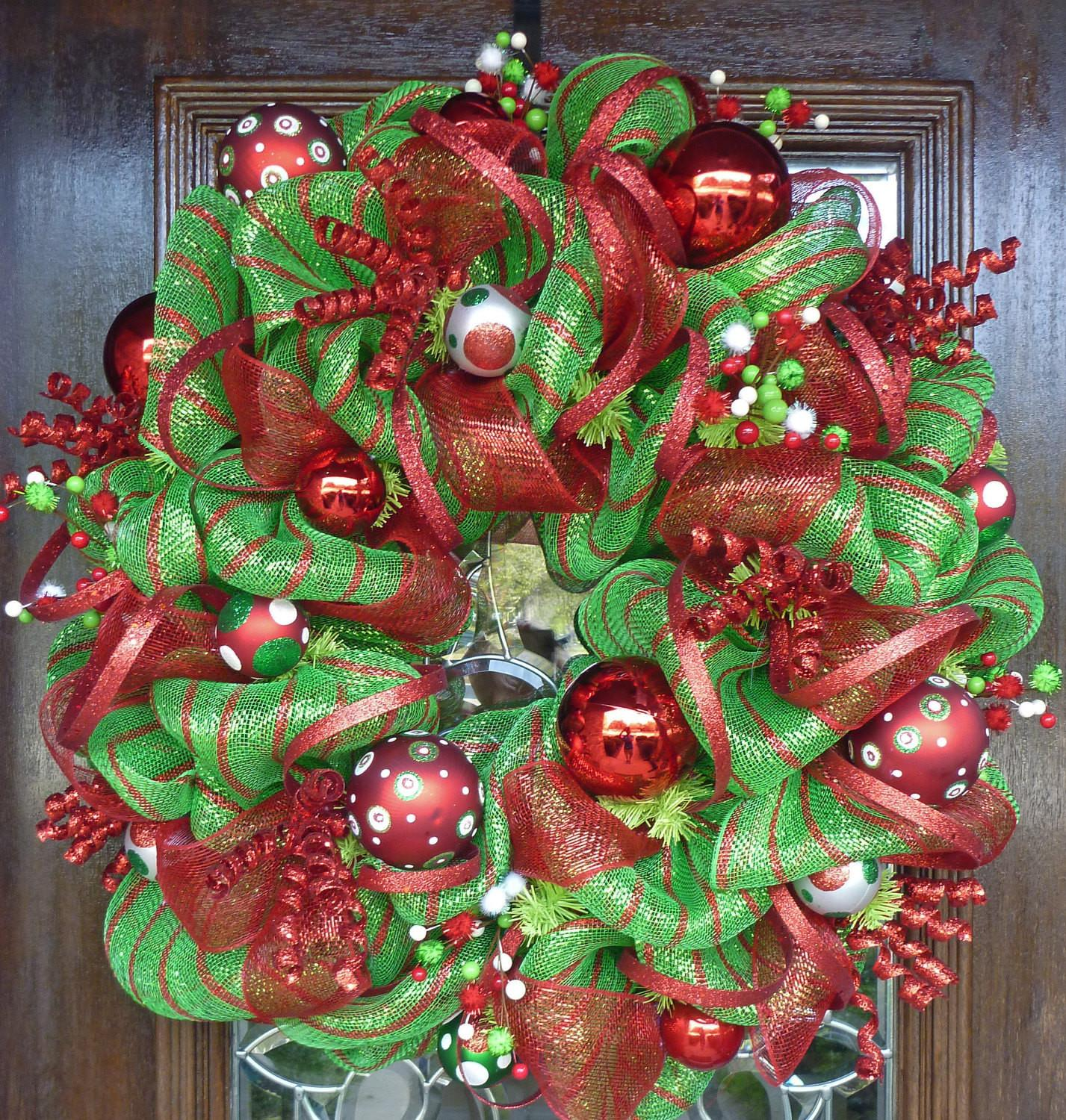 Lime Green Red Deco Mesh Christmas Wreath