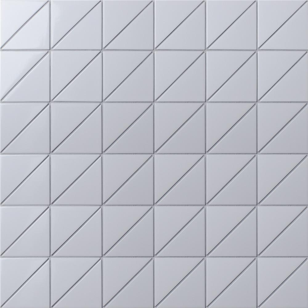 Linear Glossy White Triangle Tile Wall Design Ant