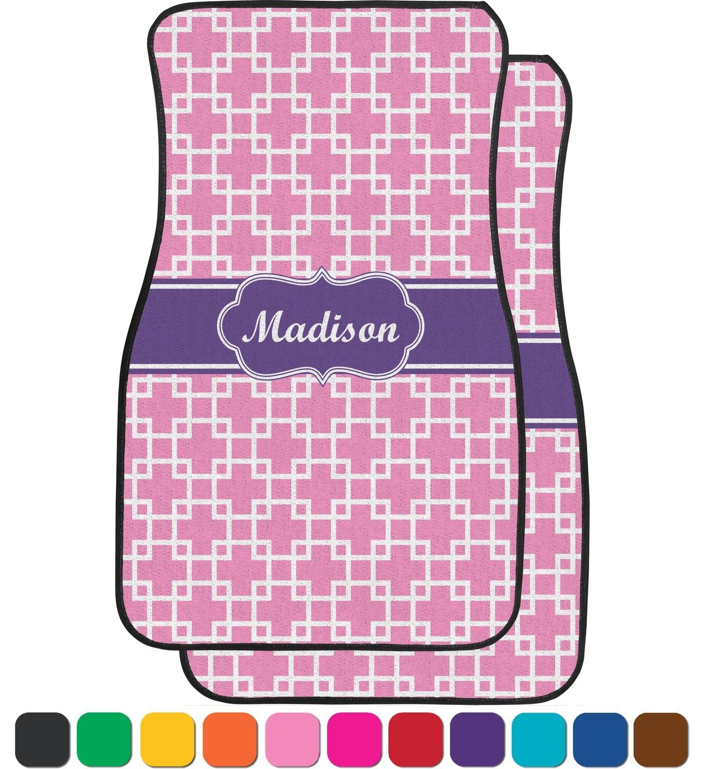 Linked Squares Car Floor Mats Front Seat Personalized