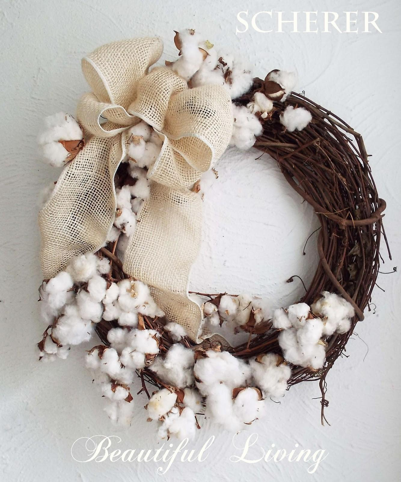 Lisa Scherer Art Decorating Cotton Plant Wreath Home