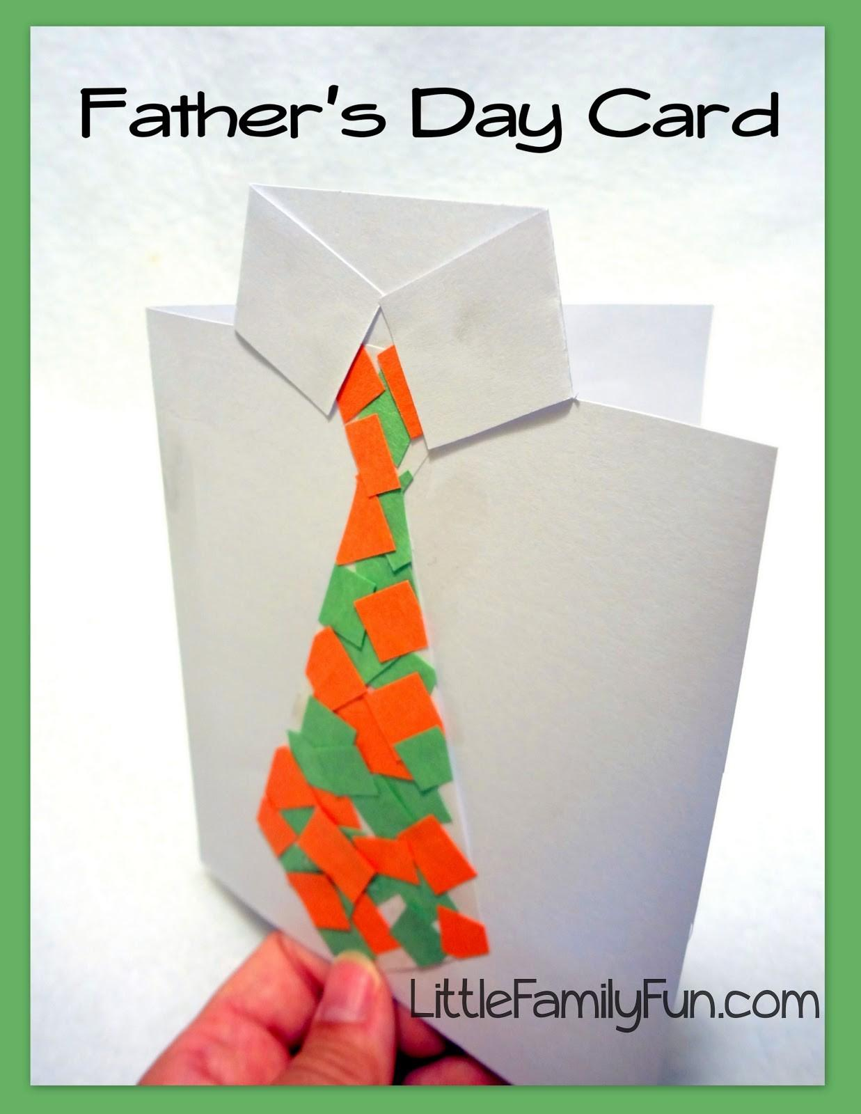 Little Family Fun Father Day Card Collage Tie