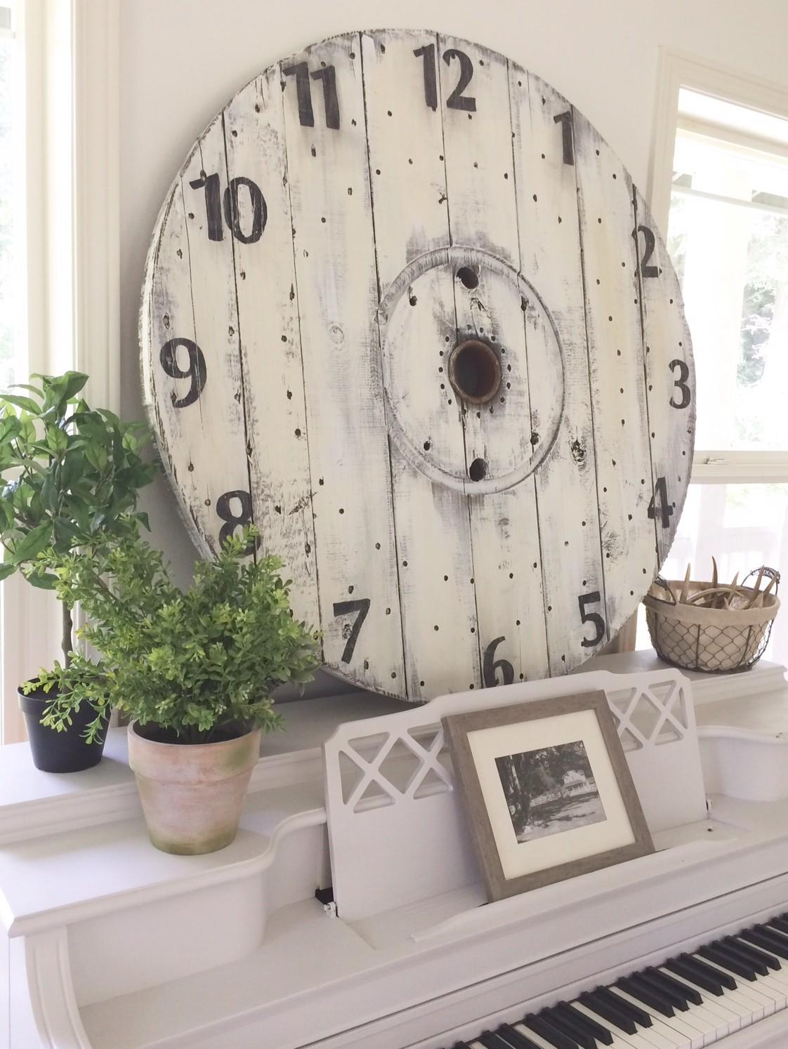 Little Farmstead Diy Farmhouse Wood Spool Clock