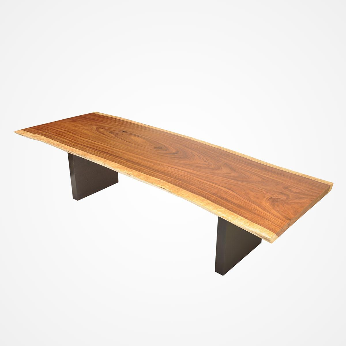 Live Edge Tamburil Wood Dining Table Powder Coated Metal