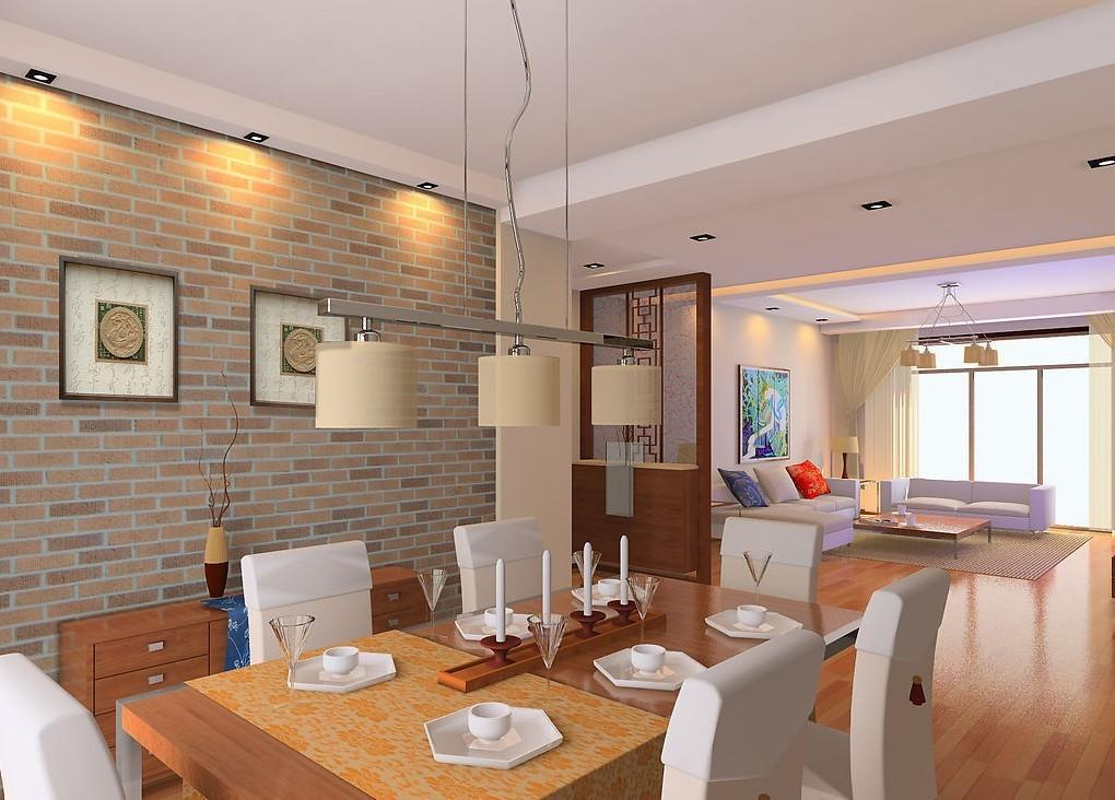 Living Dining Room Brick Wall Design House