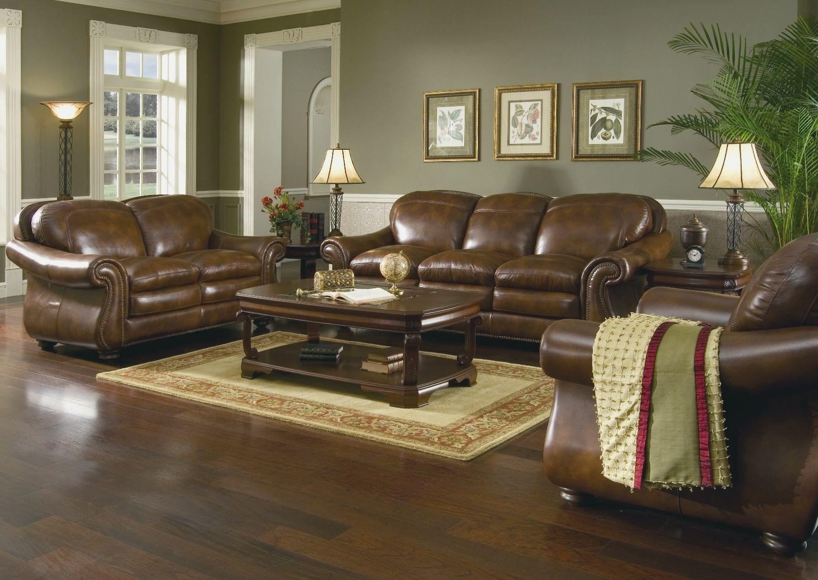 Living Room Awesome Brown Leather Couch Decorating Ideas