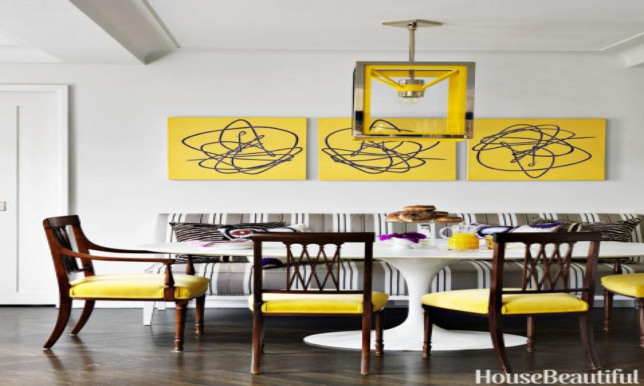 Living Room Black Yellow Abstract Art