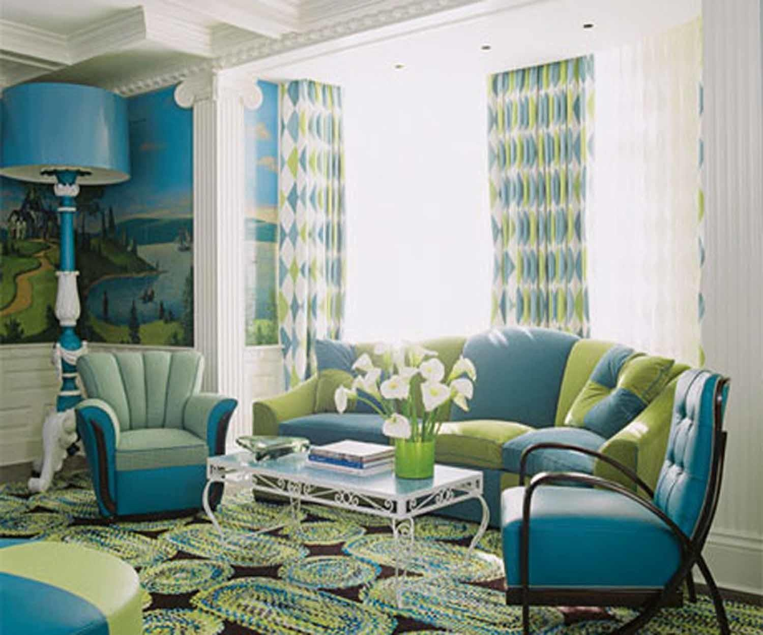 Living Room Blue Green Color Schemes Classic