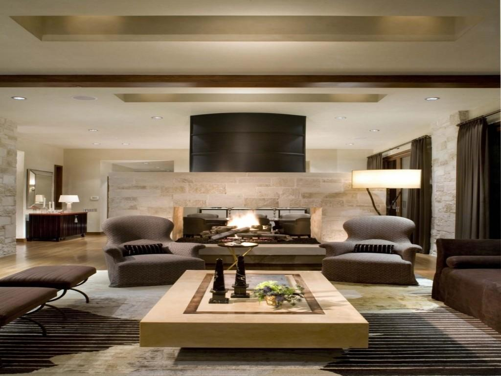 Living Room Brown Sofa Rich Modern Cozy
