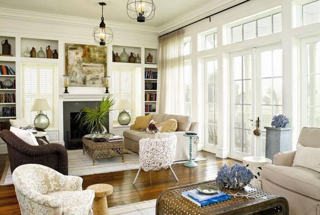 Living Room Coastal Features Rustic Wood