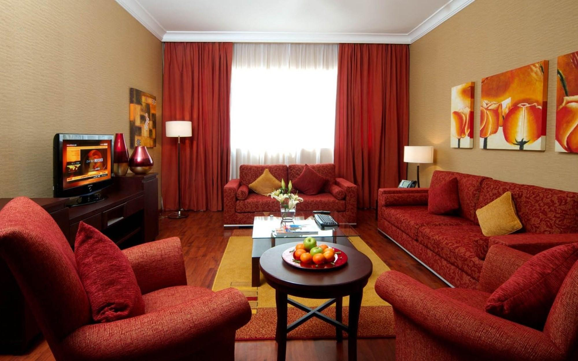 Living Room Decorating Ideas Red Sofa Curtain