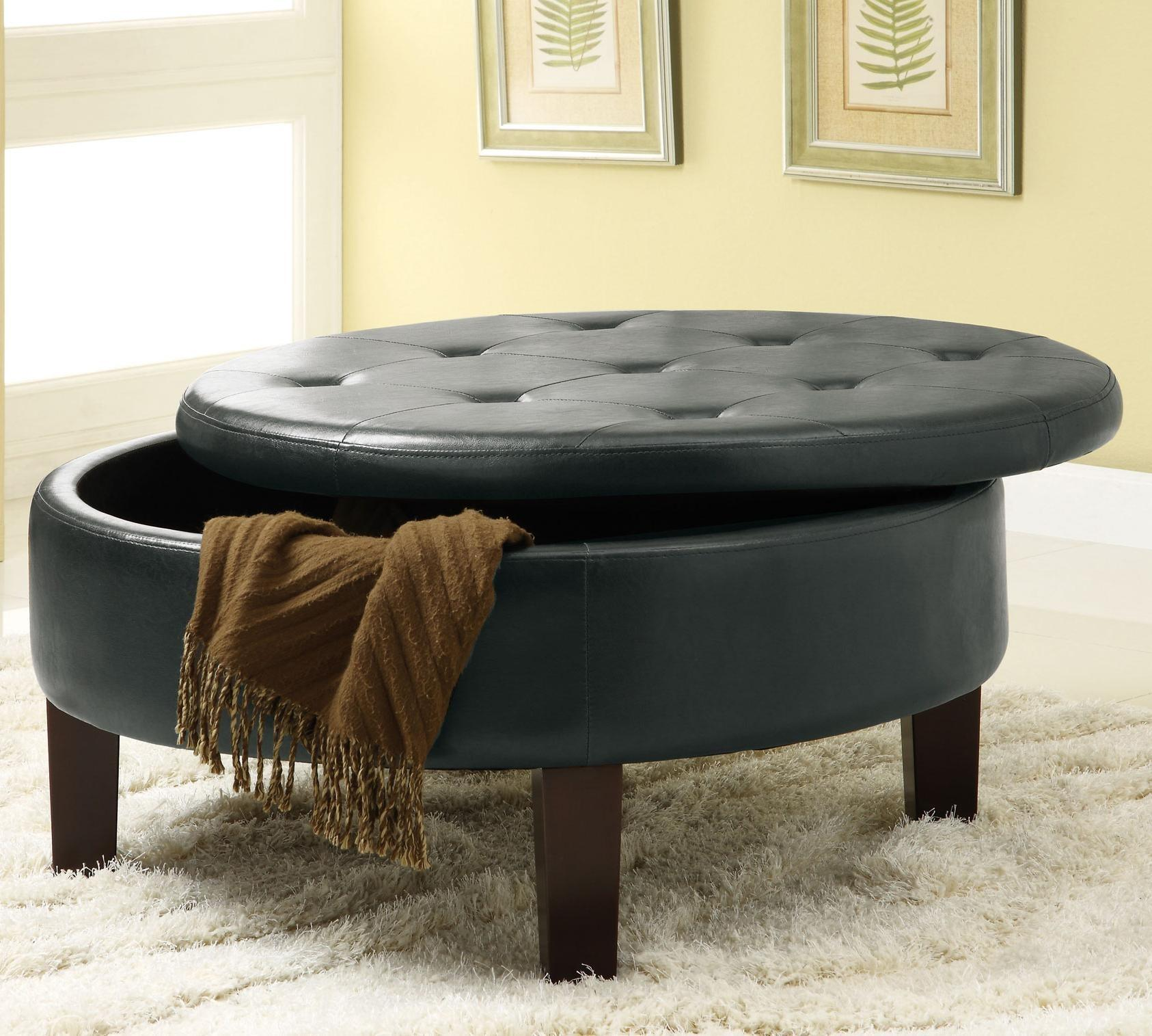 Living Room Elegance Round Leather Ottoman Coffee Table