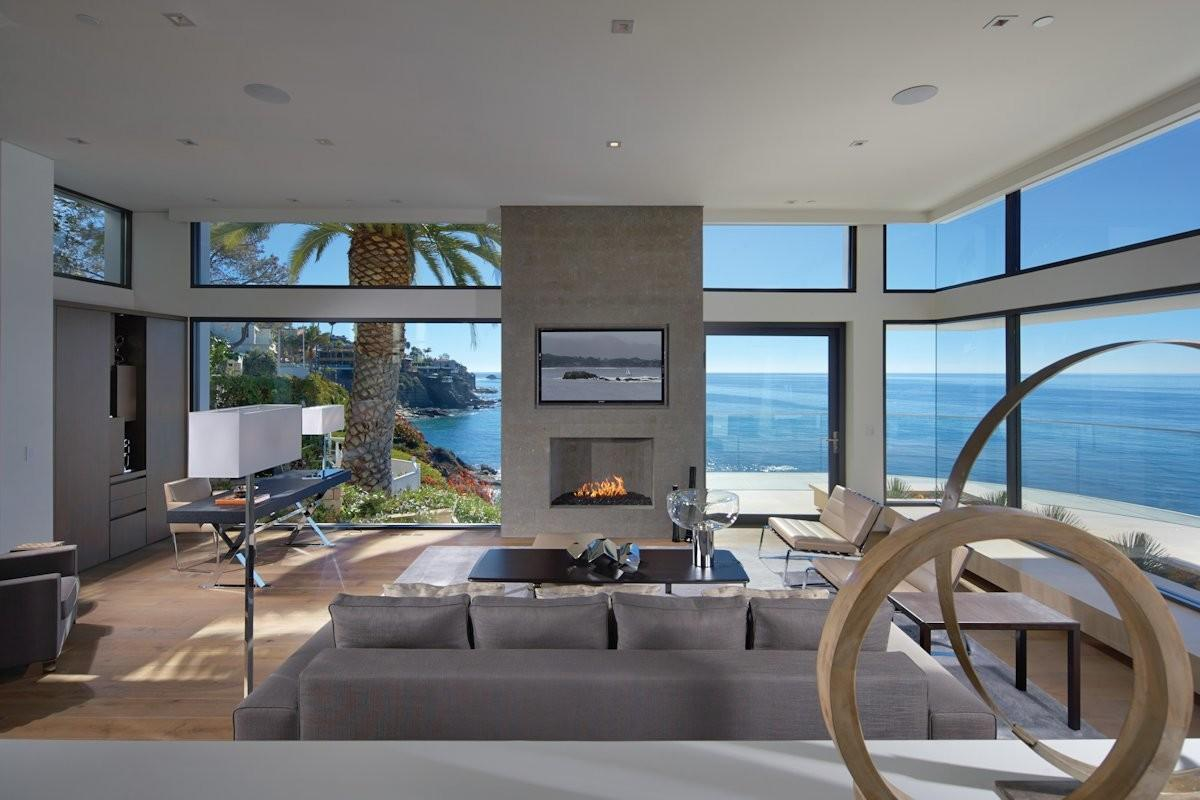 Living Room Glass Walls Ocean Views Beach House