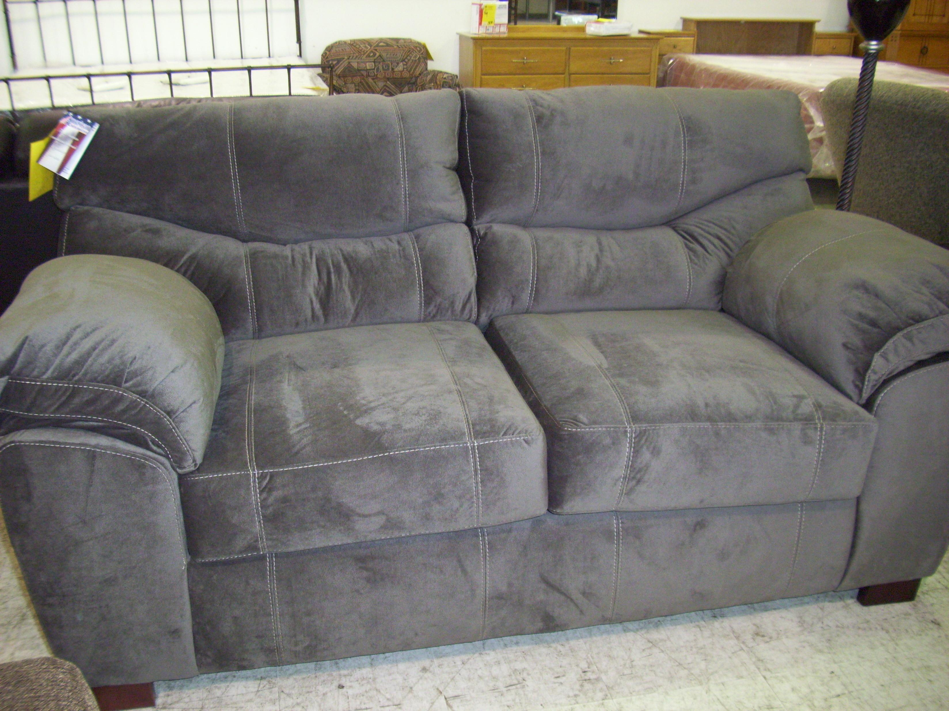 Living Room Grey Cotton Sofa Loveseat Modern