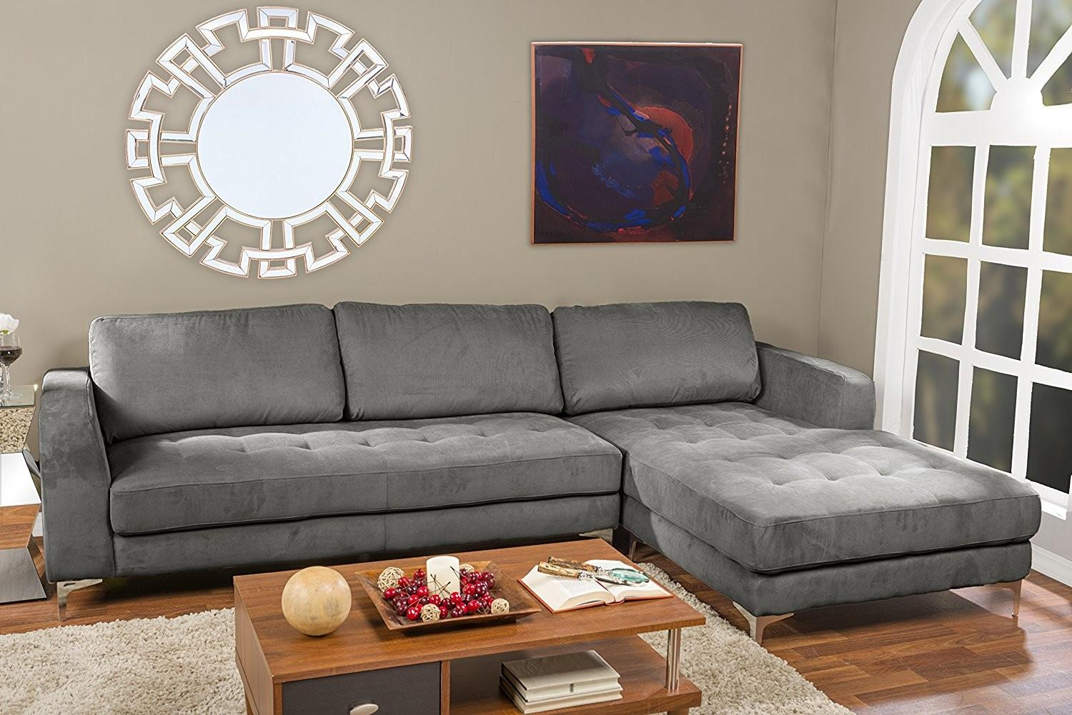 Living Room Grey Leather Sectional Brown Wooden