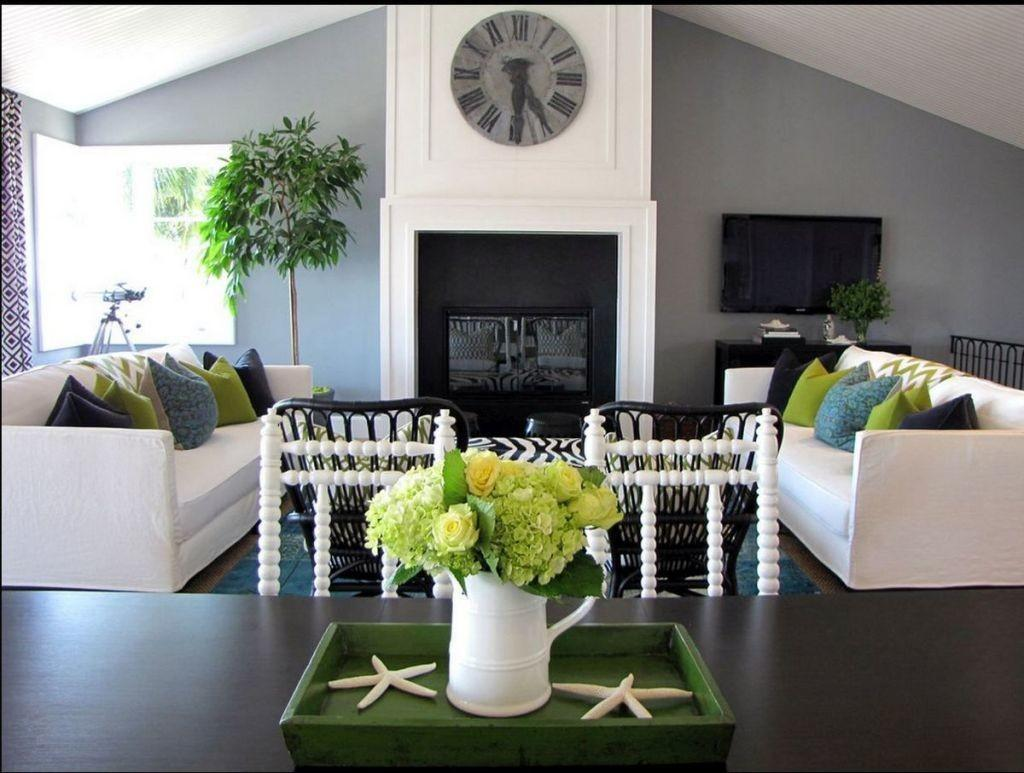 Living Room Grey Walls Green Accessories Home