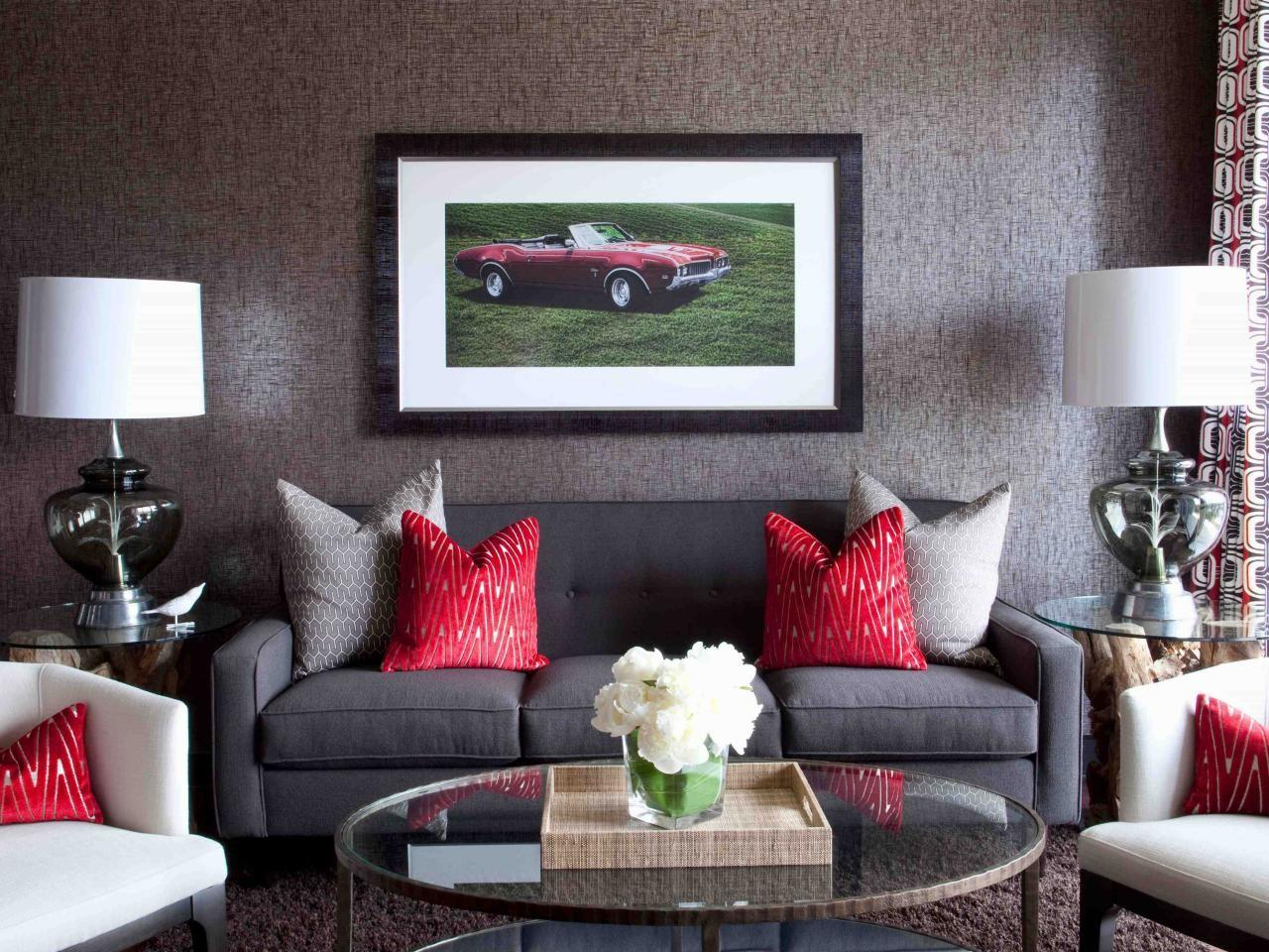 Living Room Ideas Red Grey Modern House