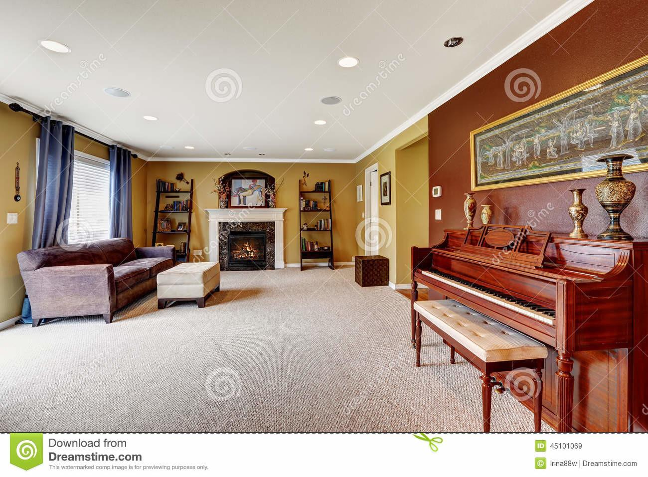 Living Room Interior Burgundy Color Wall Stock