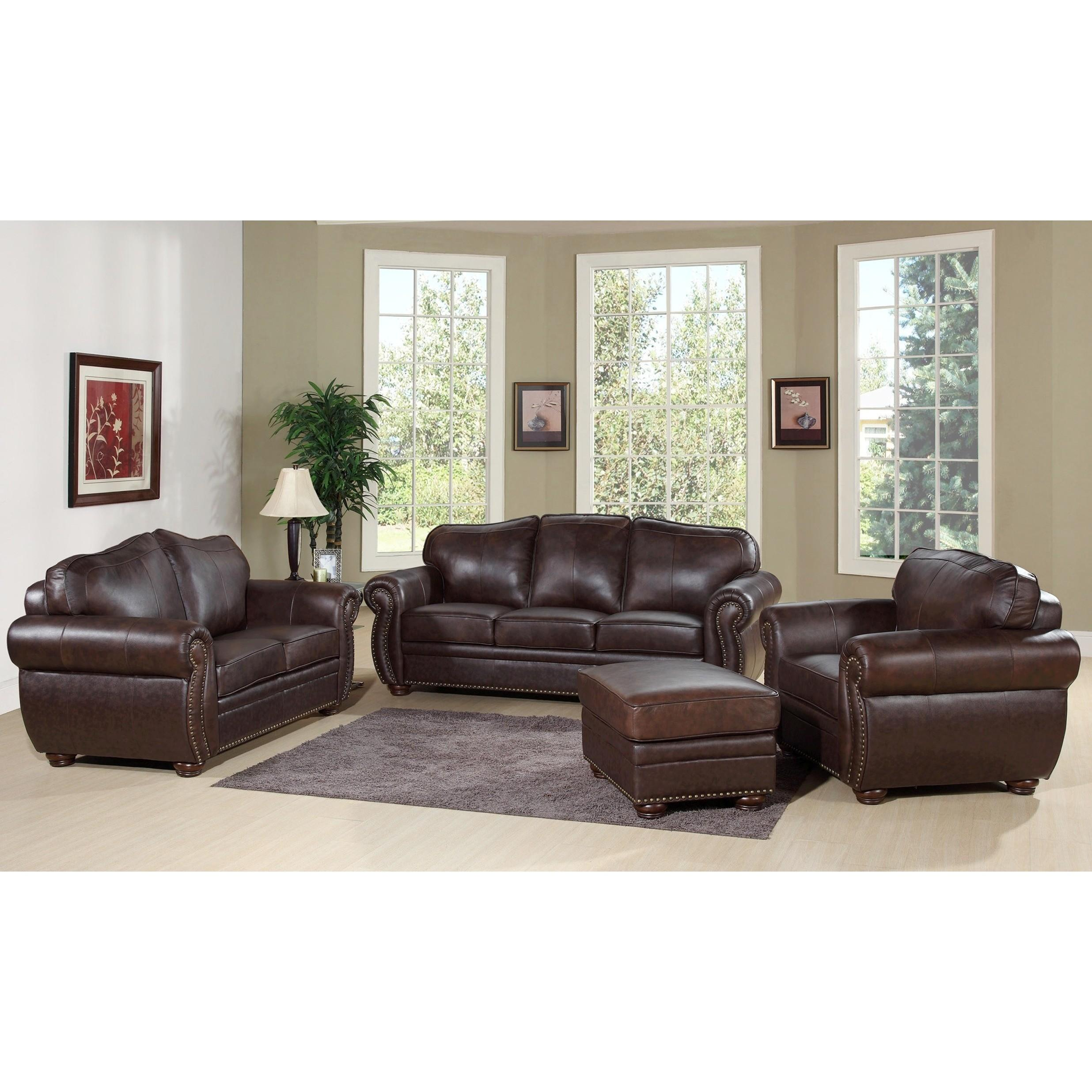 Living Room Leather Chocolate Sofa Loveseat