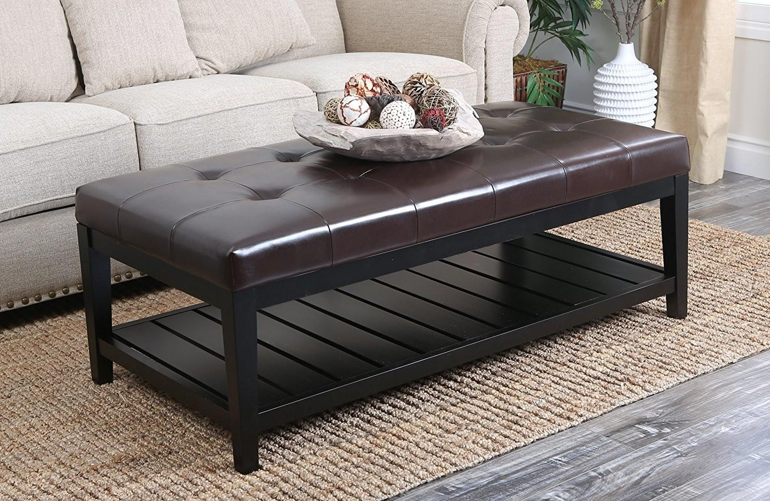 Living Room Leather Ottoman Coffee Table Brown