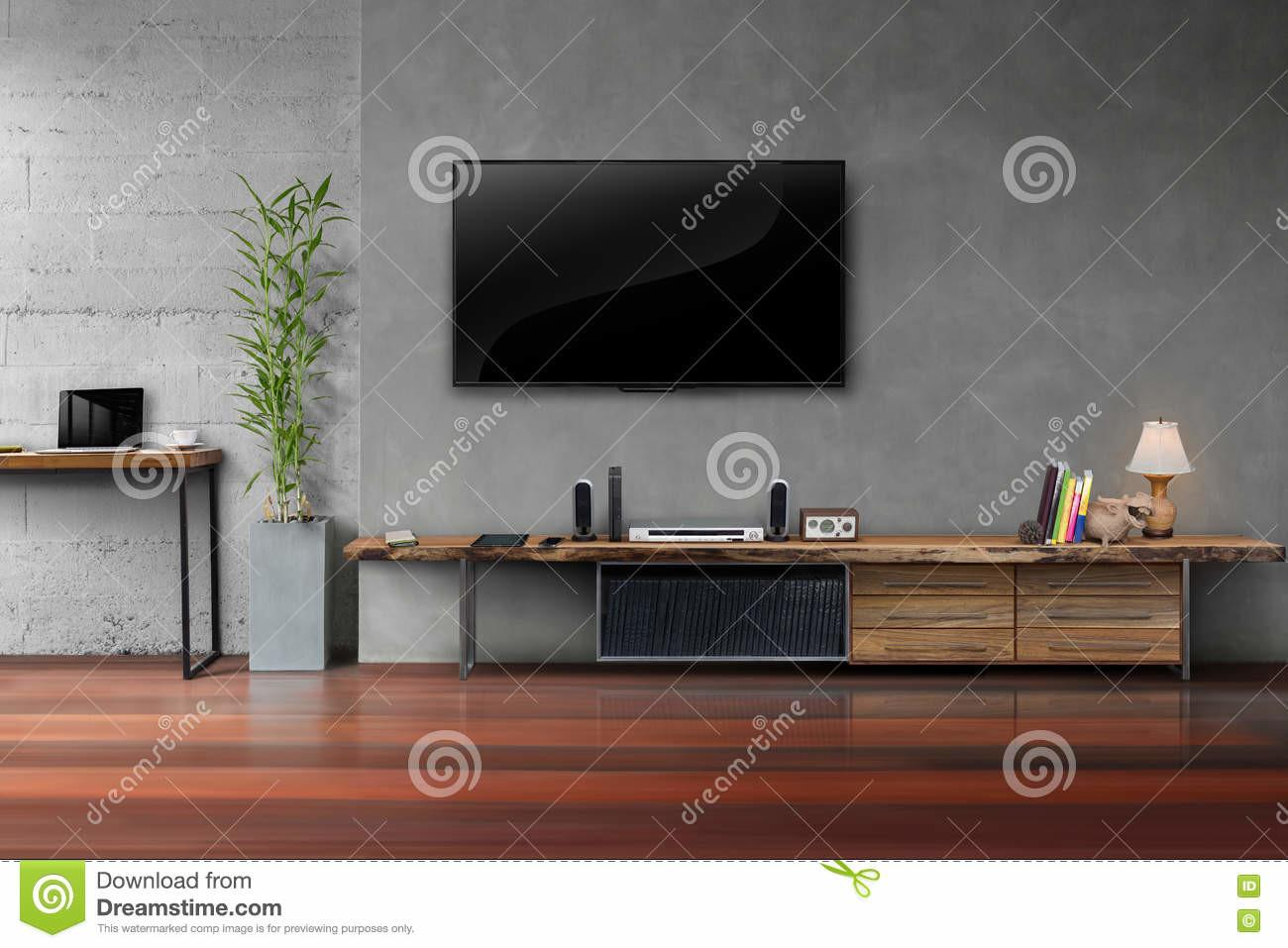 Living Room Led Concrete Wall Wooden Table