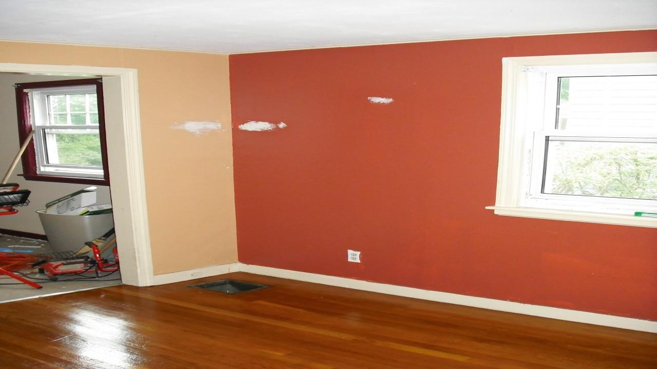 Living Room Orange Accent Wall Decorating