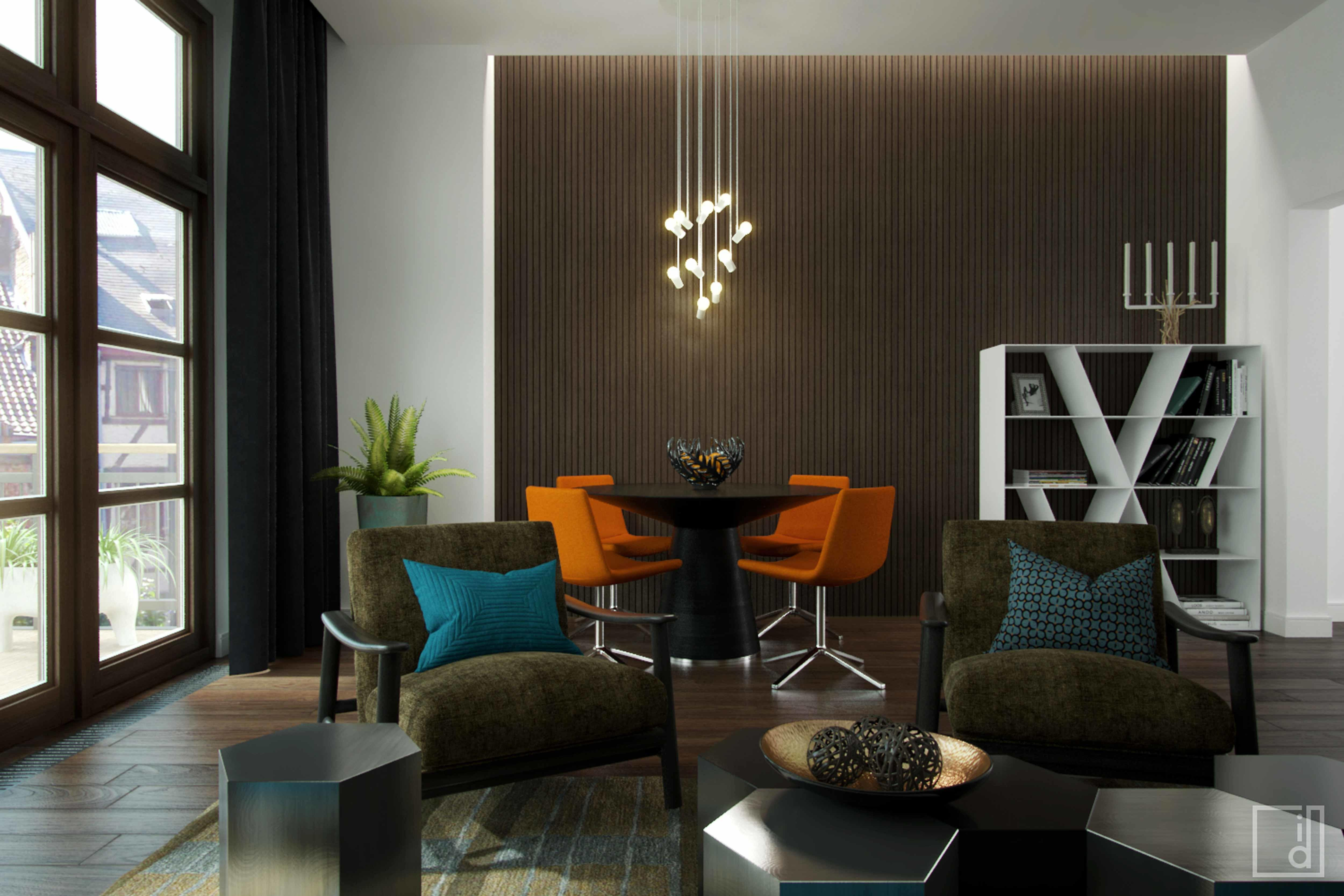 Living Room Orange Accessories Apartment Chairs
