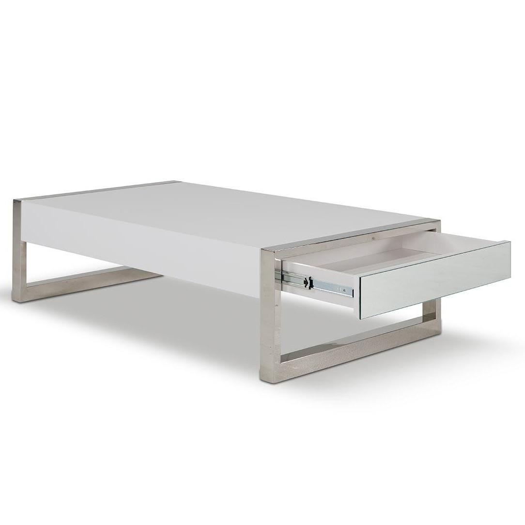 Living Room Rectangle White Coffee Table Pull Out