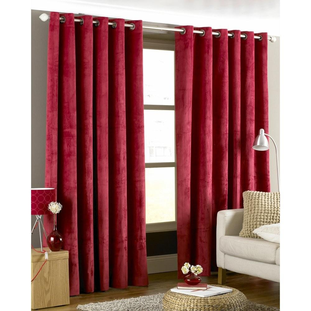 Living Room Red Imperial Velvet Ring Top Curtains