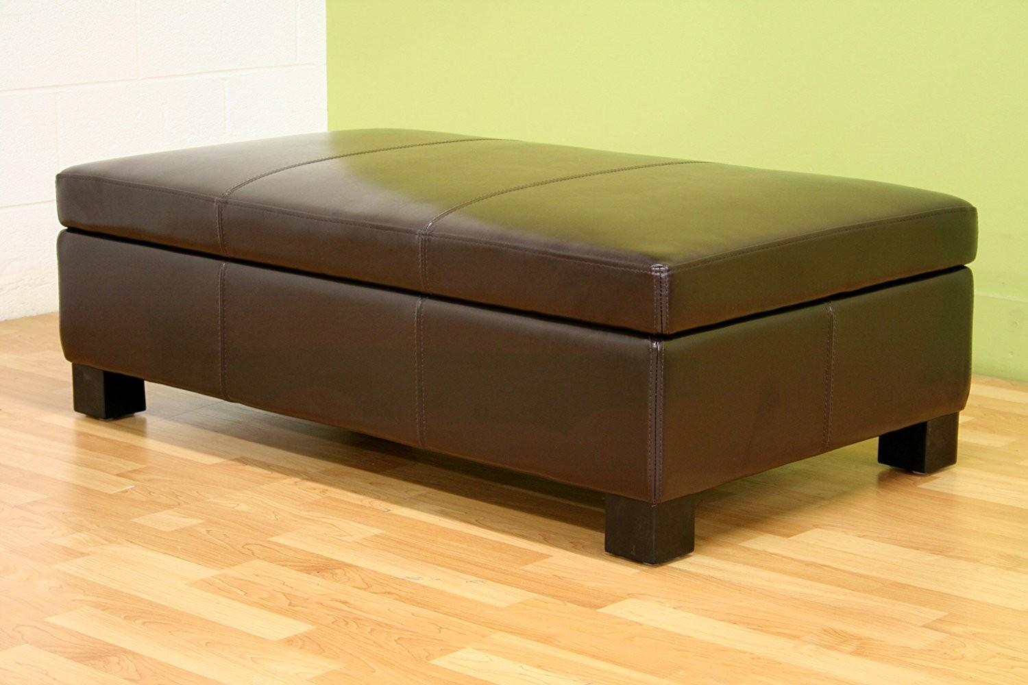 Living Room Round Tufted Leather Ottoman Coffee Table