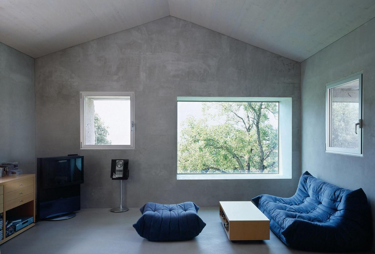 Living Space Exposed Concrete Walls Renovation