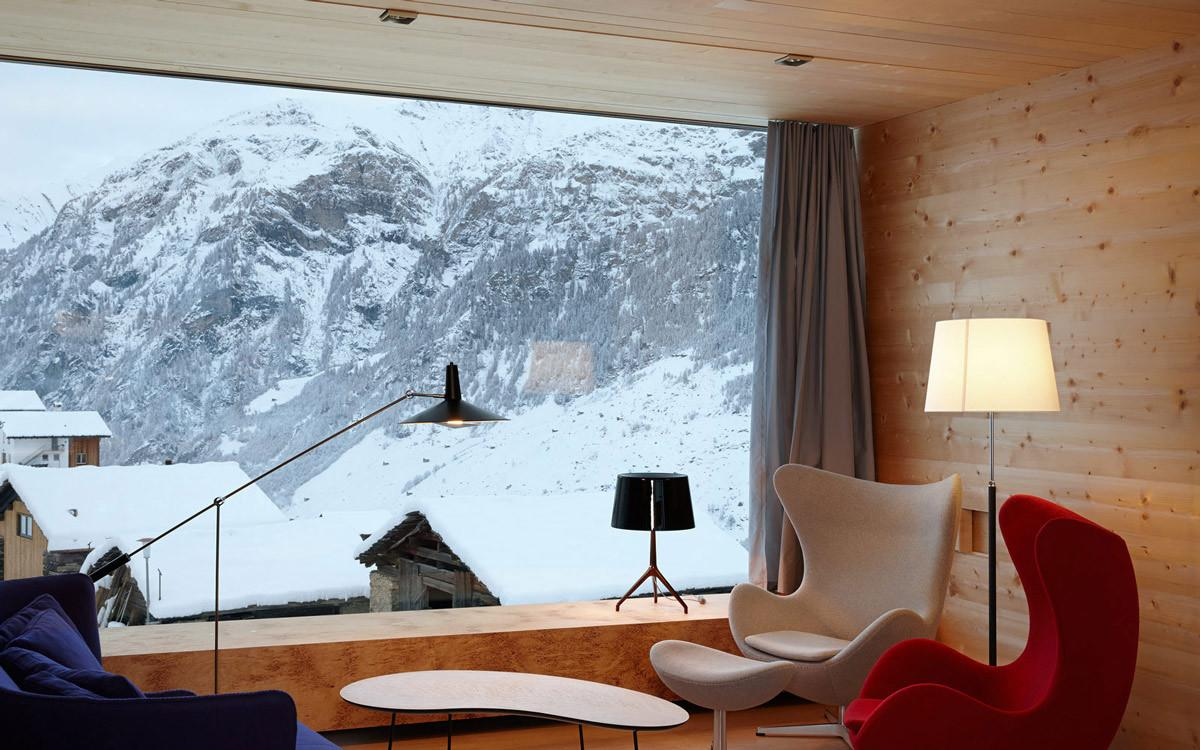 Living Space Large Window Mountain Views Zumthor