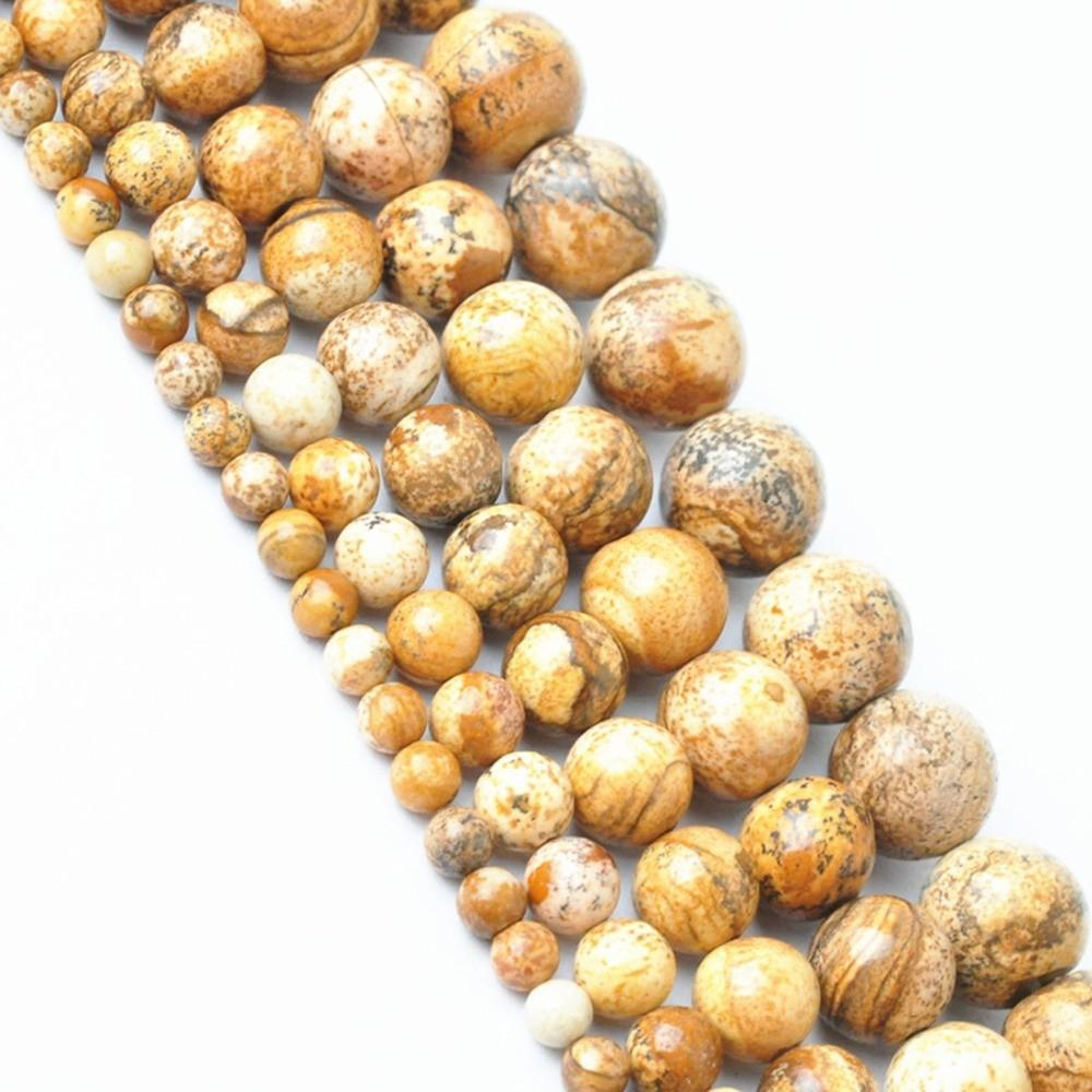 Lnrrabc New Arrival Brown Round Natural Stone Beads