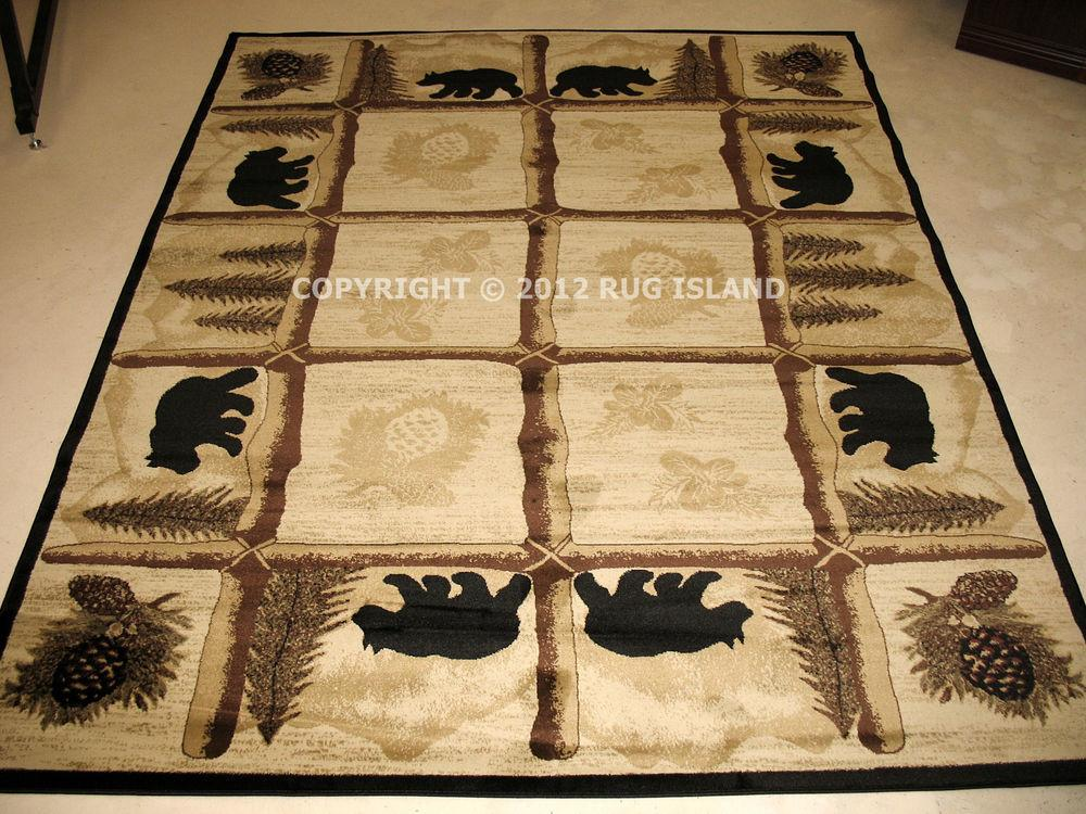 Lodge Cabin Rustic Bear Pine Brown Green Black Area Rug