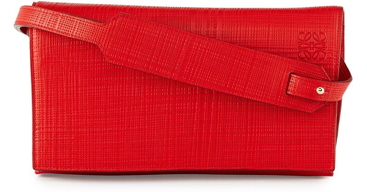Loewe Crosshatched Leather Flap Top Clutch Bag Red Lyst
