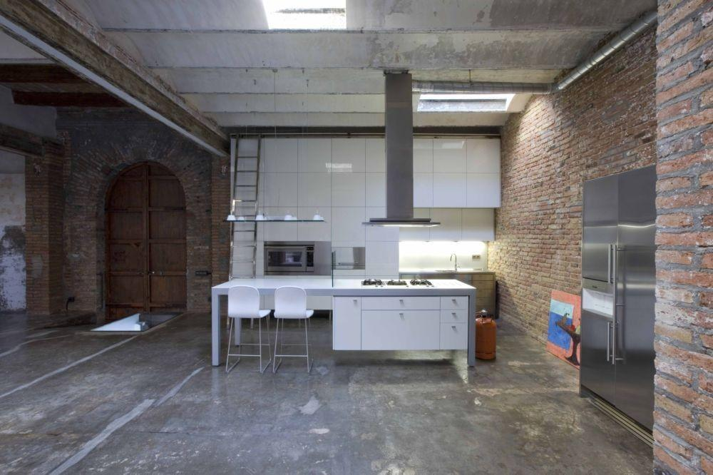 Loft Barcelona Warehouse Conversion Kitchen Panda House