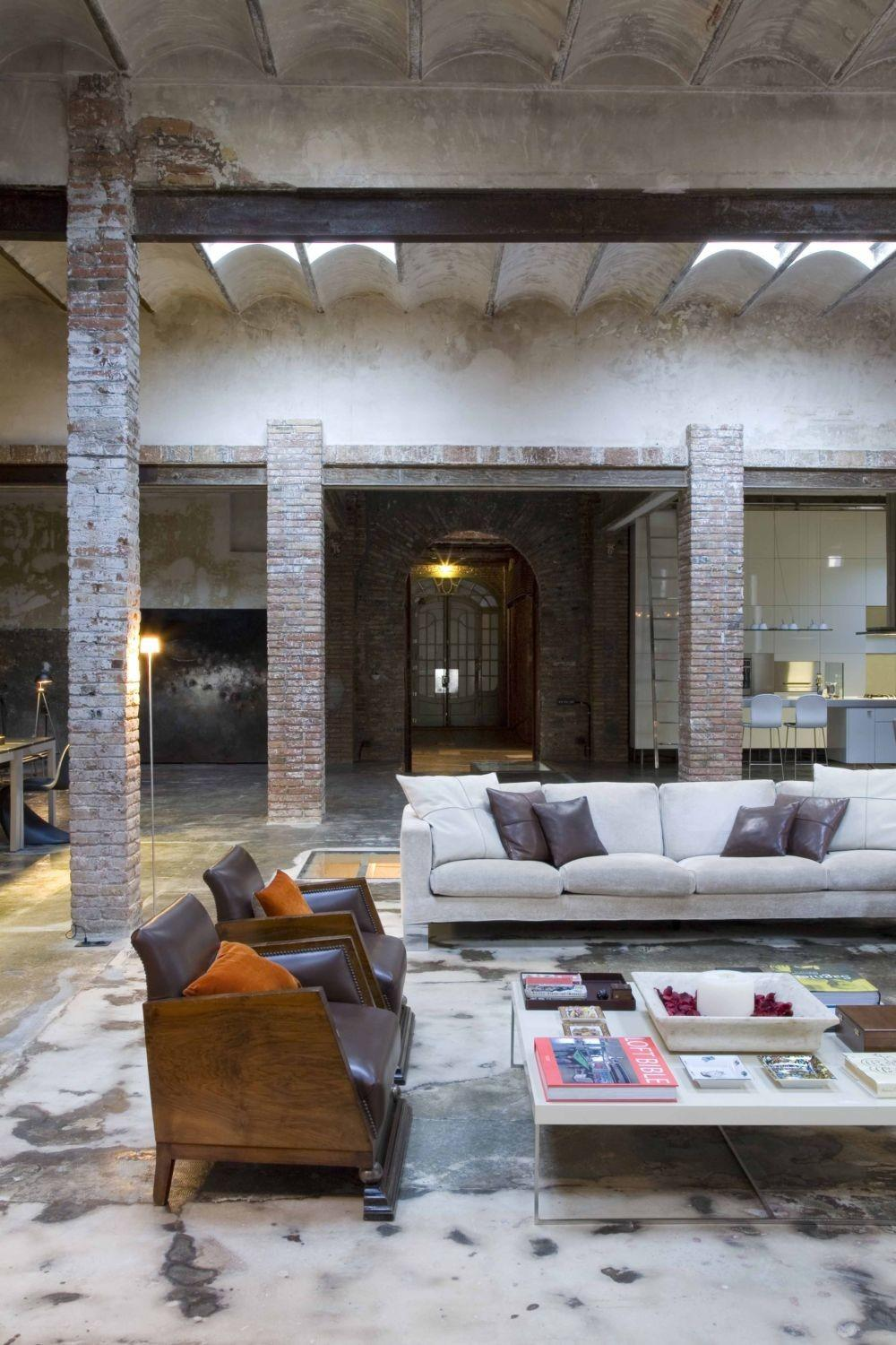 Loft Barcelona Warehouse Conversion Living Room Panda