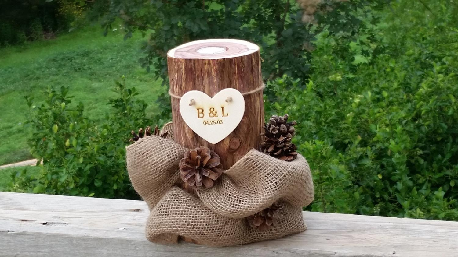 Log Candle Holder Fall Pine Cones Home Decor 5th