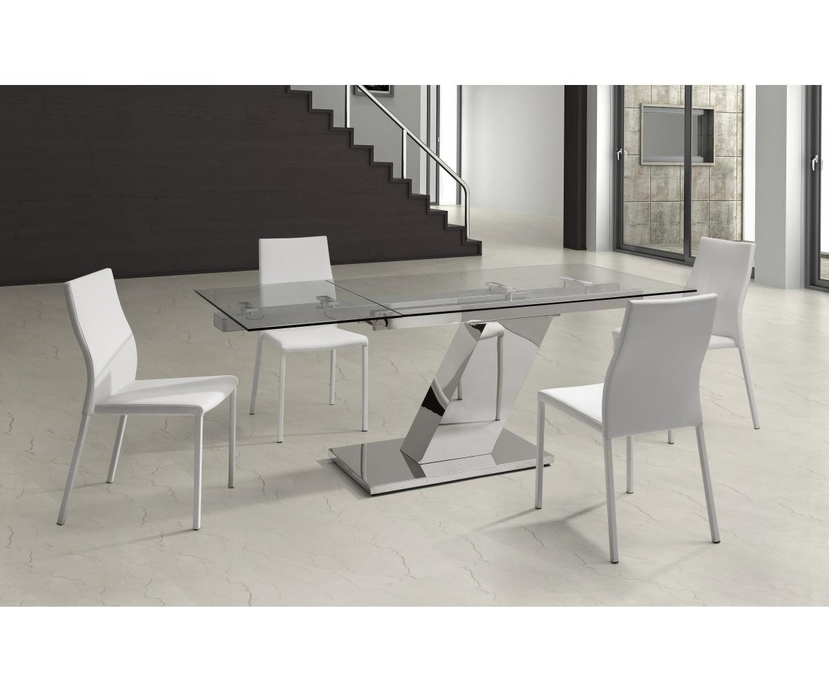 Long Bellino Extendable Dining Table Tempered