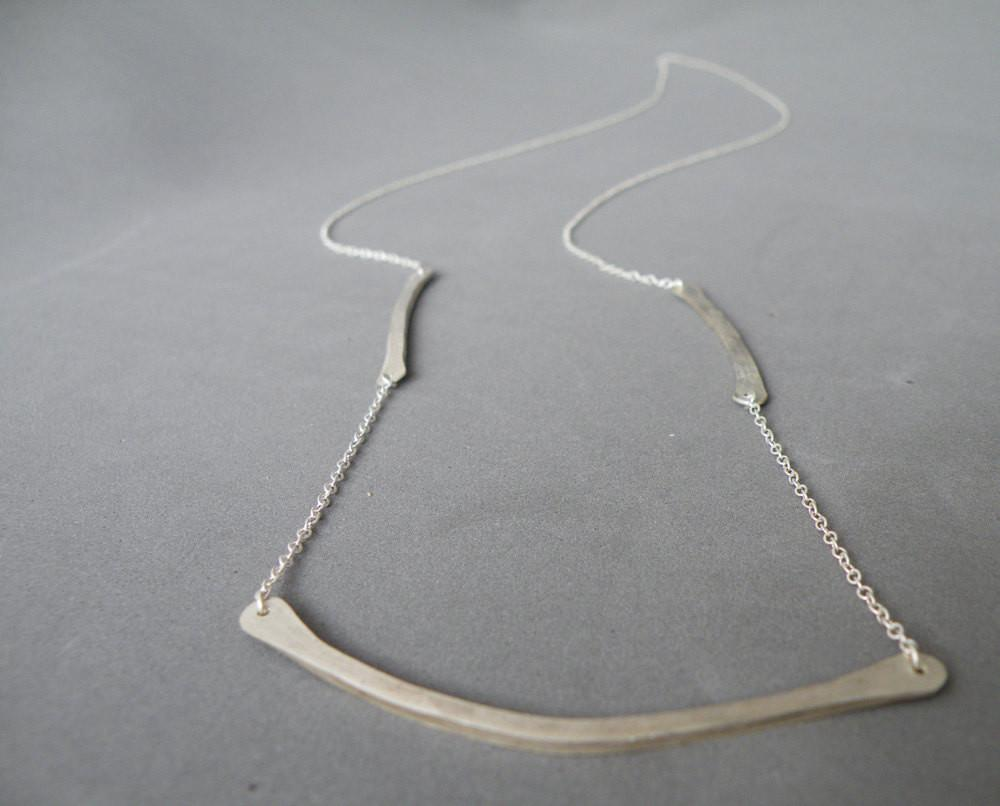 Long Fine Silver Bar Necklace Modern Minimalist