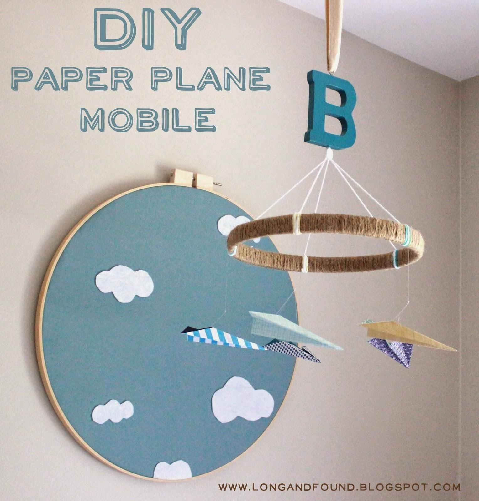 Long Found Diy Paper Airplane Baby Mobile