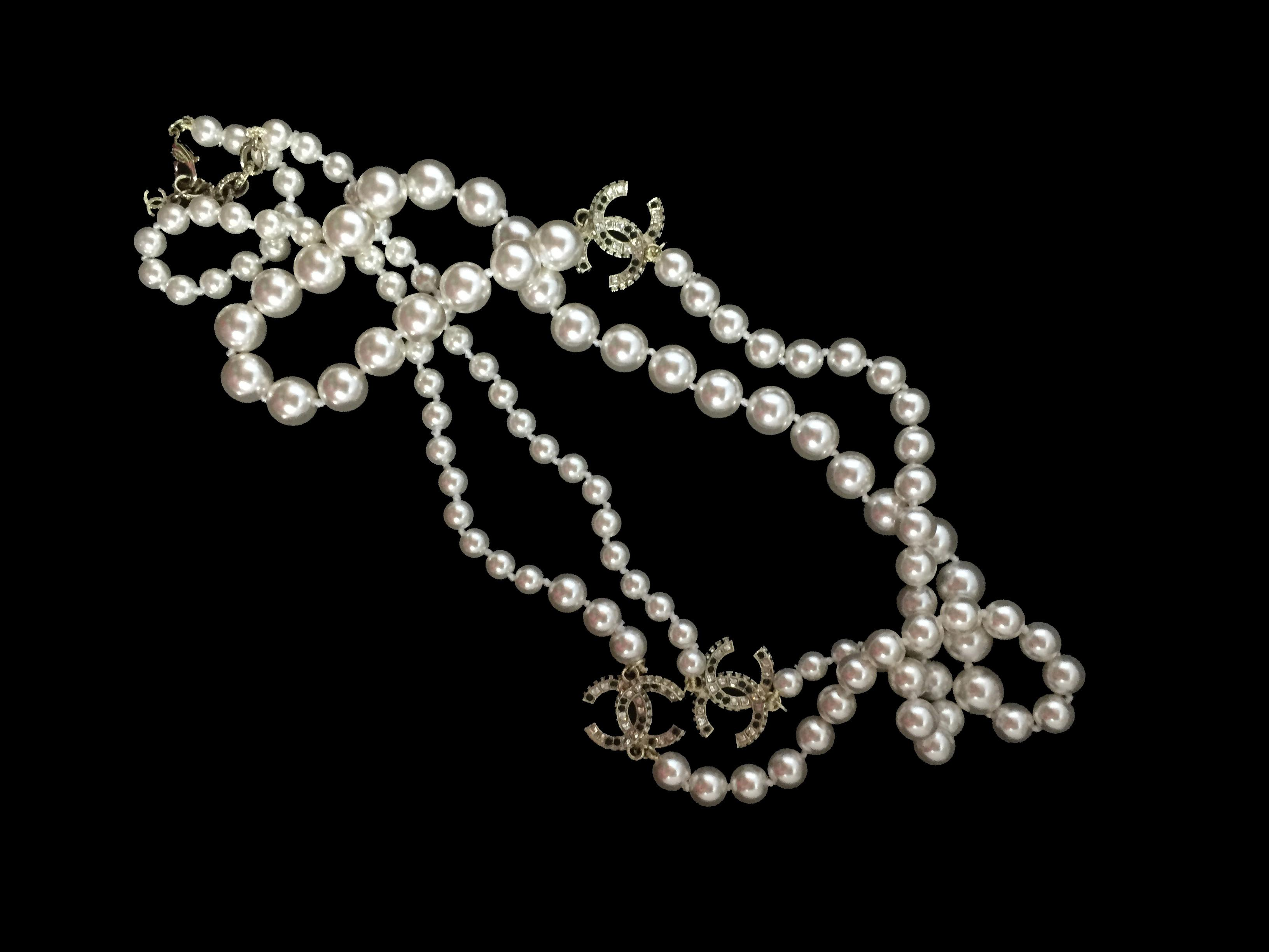 Long Pearl Necklace Charms Inspired Chanel Sofi