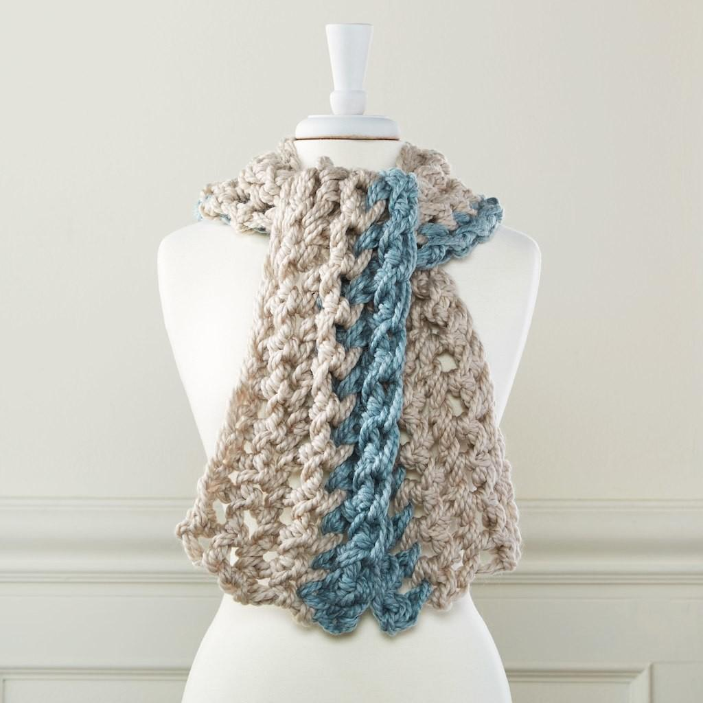 Loops Threads Cozy Wool Double Strand Finger Crochet Scarf