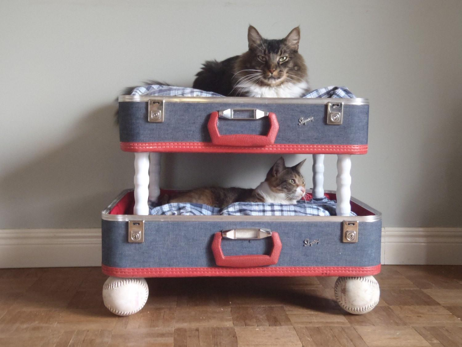 Lovable Luggage Pet Bunk Bed Upcycled Suitcases Reclaimed