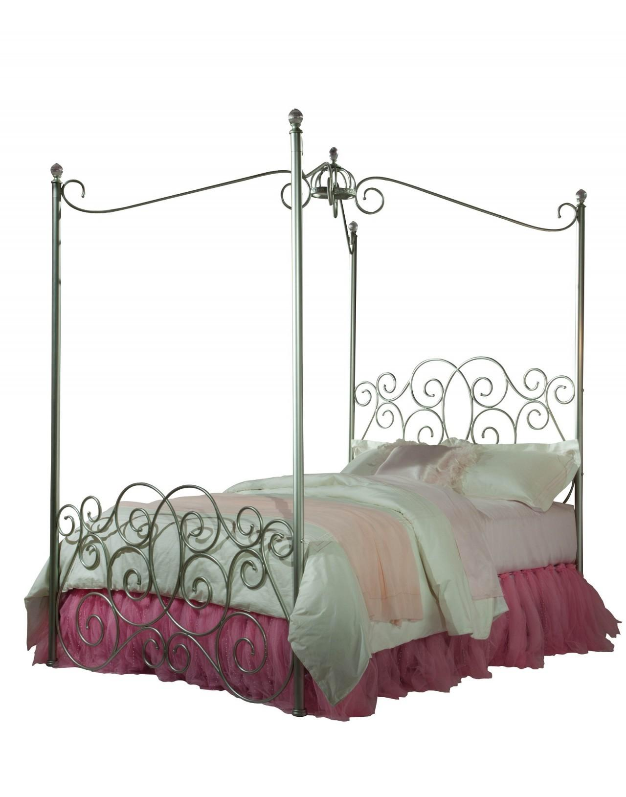 Lovable Metal Canopy Twin Princess Bed Frames White