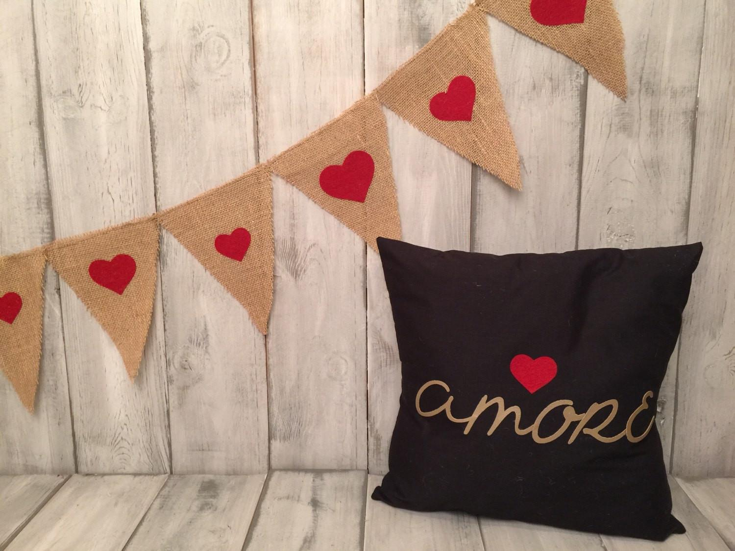 Love Burlap Pennant Banner Valentines Day